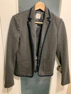 Gap Cotton Stretch Blazer with Navy Contrast, Size 2