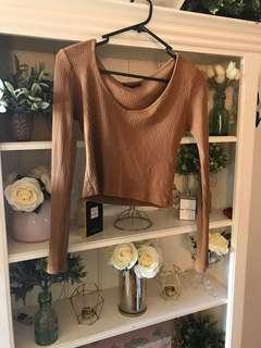 Cropped Camel Long Sleeve Top