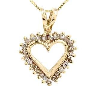 Pretty Diamond 10K Yellow Gold Small Heart Pendant