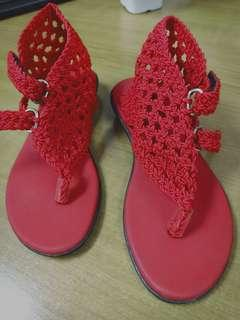 Crochet red sandals size 7