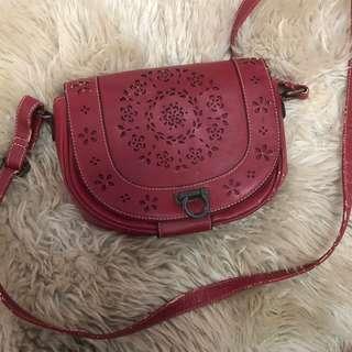 Red Leather hangbag, Shoulder bag, sling bag