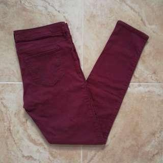 HOLLISTER LOW-RISE BURGUNDY SKINNY JEANS