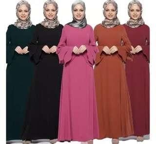 PREORDER: JUBAH ABAYA DRESS LAYERED SLEEVES free instant hijab
