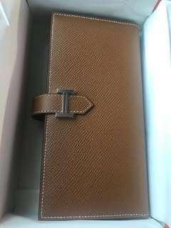 *elegant gift* BN Hermes Bearn Soufflet Epsom 37 Gold
