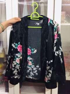 Kimono Cardigan flowery pink black sakura