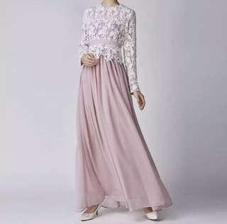 PREORDER: LACE TOP DRESS DUSTY PINK JUBAH ABAYA free instant hijab