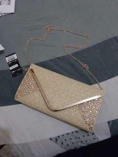 Gold Clutch Sling Bag
