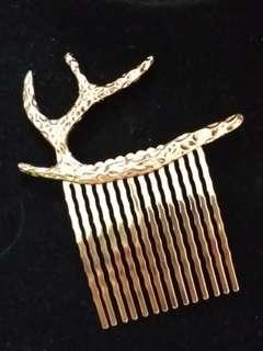 金色鹿角森林系髮飾髮梳頭飾 氣質女孩 新娘