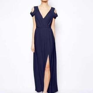 Asos navy blue off shoulder dress
