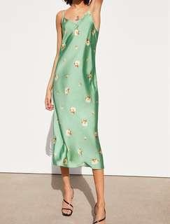 Dress Zara Slip Dress Satin Floral Bunga-Bunga