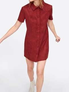Dress Zara Kulit Suede Minidress