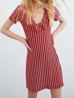Zara Minidress Dress Merah Garis-Garis