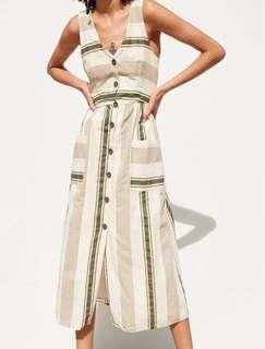 Dress Zara Garis-Garis Dress Summer Dress Pantai Tanpa Lengan