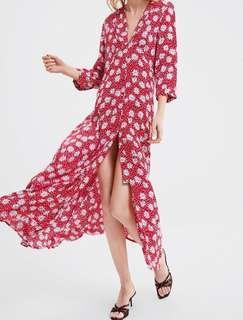 Dress Zara Floral Bunga Maxi Dress Corak Bunga Merah