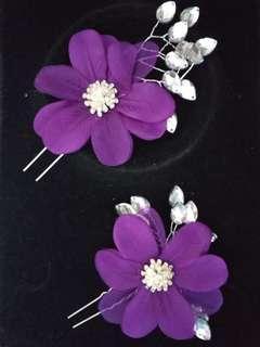 紫色花銀髮釵 髮梳 新娘頭飾髮飾 話劇 舞蹈 表演