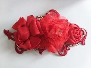 紅色花布蕾絲頭飾髮飾髮梳 新娘 表演 敬酒 舞台
