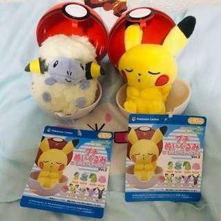 (日本帶回) Pokemon Center 精靈球 毛公仔 (日本 Pokemon Center 限定) 比卡超 夢夢 車厘龜 小火龍 卡比獸 伊貝 六尾 比卡超 棉羊