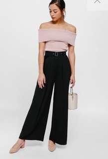 Love, Bonito Pallas Belted Front Pleat Wide Leg Pants