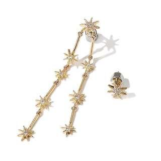 Pony Collection Gold Star Encrusted Stud & Dangle Mismatch Earrings