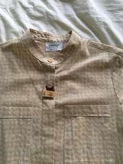 Vintage beige gingham checkered button shirt