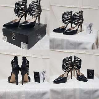 Black Nappa Heels