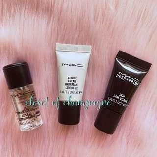 Mac mini strobe cream primer cleansing oil travel size