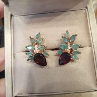 (sold) emerald garnet earring 925