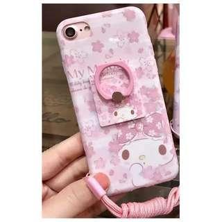 日本粉系美樂蒂送指環軟殼手機殼 /蘋果iphone6/6splus (5.5吋使用)