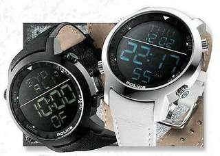 Authentic police watch in black genuine leather