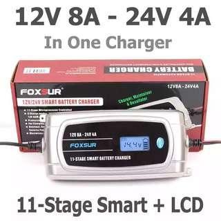 🚚 FOXSUR 12V 8A 24V 4A 11-stage Smart Battery Charger, 12V 24V EFB GEL AGM WET Car Battery Charger with LCD display & Desulfator