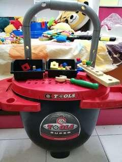 Tools box for kids with wheels