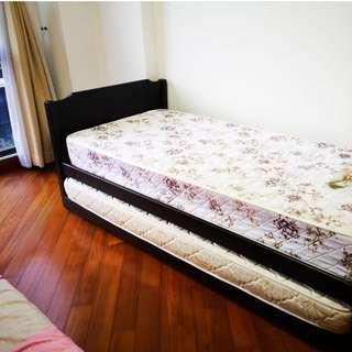 Single bed, Wooden frame cot, with pullover bed, 2 mattress