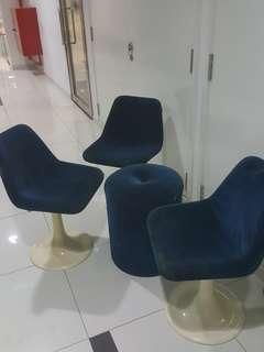 1970s Vintage Retro Velvet Cup Chairs with Table.