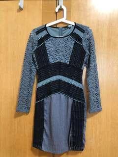 灰色黑色lace 長袖裙