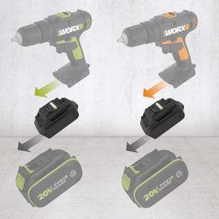 WORX WA4600 convertor use green battery on orange tools