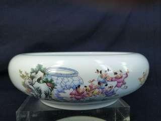 景德鎮 全美品相 童趣 手繪粉彩 茶盆