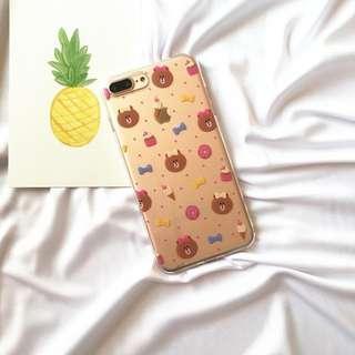 韓國可愛LINE甜甜圈熊妹妹軟殼手機殼 / 蘋果iphone 7 / 8plus (5.5吋使用)