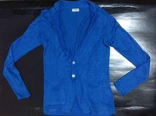 日本牌子 Men,s bigi男裝麻質中袖彩藍色色針織外套 cardigan knit