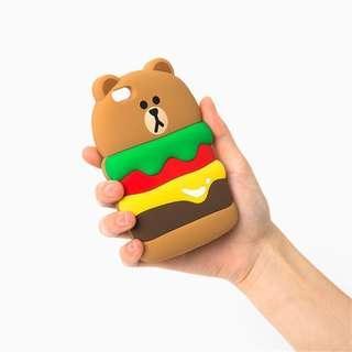 韓國創意漢堡熊送同款掛繩手機殼 蘋果iphone 7/ 8plus (5.5吋使用)