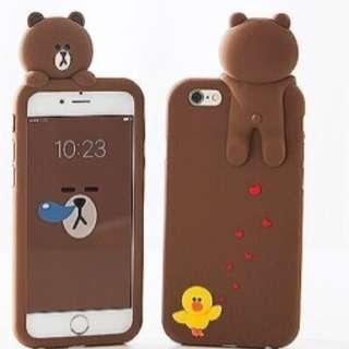 已停產/韓國可愛line布朗熊送掛繩防摔手機殼/蘋果iphone7/8(4.7吋使用)