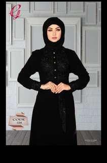 Janna Black Collar Abaya with Black Flowers Embroideries
