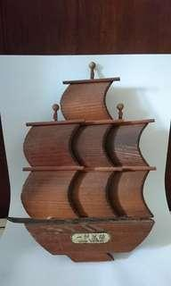 1970s Wooden Ship Decor