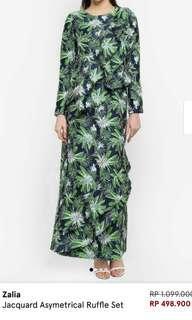 #JUALRUGI# Zalia Jacquard Asymetrical Ruffle Set