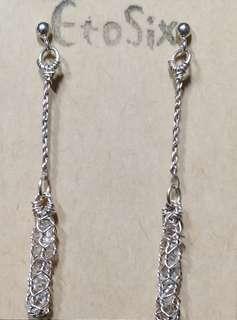 925銀耳環--銀線網格編織x巴基斯坦鑽石水晶