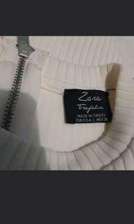 ZARA WHITE PARTY MINI DRESS RIBBED CUT OFF SHOULDER