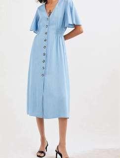 Dress Zara Mididress Biru Light Blue Buttoned Dress Summer Dress Pantai Santorini Dress