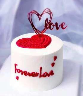 (2/4) Love Heart Shape cake topper