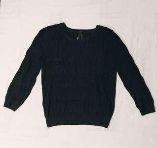 Dangerfield Knitted 3/4 Sleeve Black Jumper