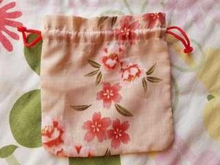 粉紅櫻花索繩布袋