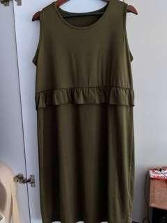 Sleeveless Olive Green Nursing Maternity Dress (Free size)